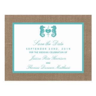 Turquoise Seahorse Burlap Beach Wedding Collection Postcard