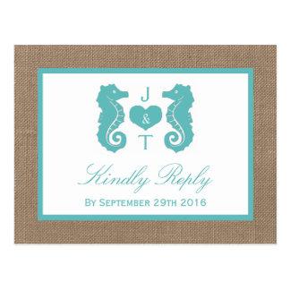 Turquoise Seahorse Burlap Beach Wedding Collection Postcard