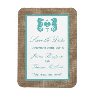 Turquoise Seahorse Burlap Beach Wedding Collection Rectangular Photo Magnet