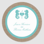 Turquoise Seahorse Burlap Beach Wedding Collection Round Sticker
