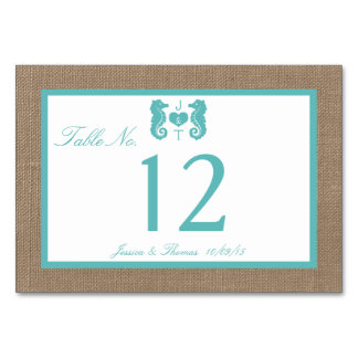 Turquoise Seahorse Burlap Beach Wedding Collection Table Card