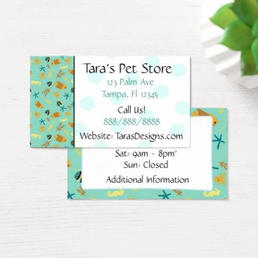 Professional Business Turquoise Seahorse & Fish Teal Dots Business Cards