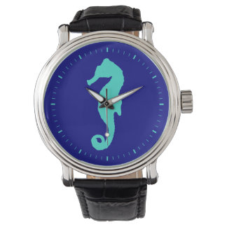 Turquoise Seahorse On Navy Blue Wristwatch