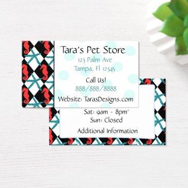 Professional Business Turquoise Seahorse Teal Dots Business Cards