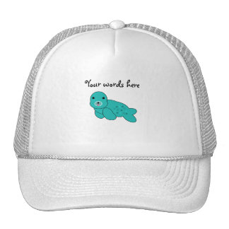 Turquoise seal pup trucker hat