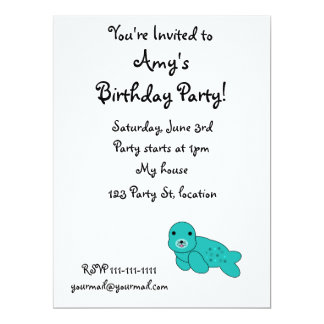 "Turquoise seal pup 6.5"" x 8.75"" invitation card"