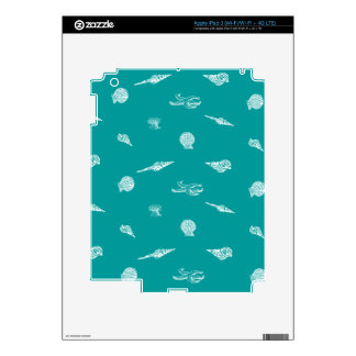 Turquoise Seashell Pattern Decal For iPad 3