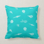 Turquoise Seashells and Starfish Pillow
