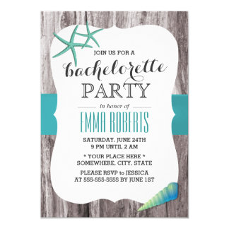 Turquoise Seashells Beach Theme Bachelorette Party Card