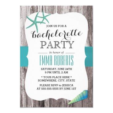 myinvitation Turquoise Seashells Beach Theme Bachelorette Party Card