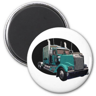 Turquoise Semi Truck Magnet