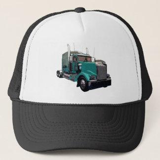 Turquoise Semi Truck Trucker Hat
