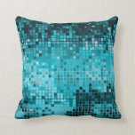 Turquoise Sequins Glitter Abstract Pixel Art Throw Pillows