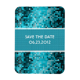 Turquoise Sequins Look Disco Mirrors Bling Rectangular Photo Magnet