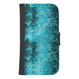Turquoise Sequins Look Mosaic Geometric Pattern Phone Wallet