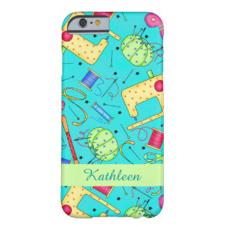Turquoise Sewing Art Name Personalized Barely There iPhone 6 Case