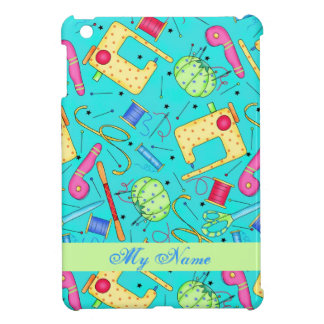 Turquoise Sewing Art Personalized iPad Mini Case