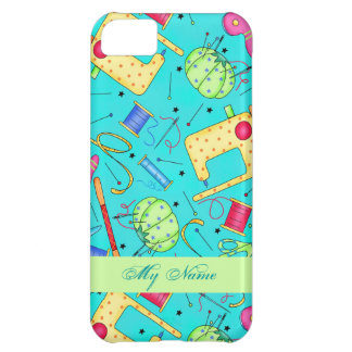 Turquoise Sewing Art Personalized iPhone 5 Case