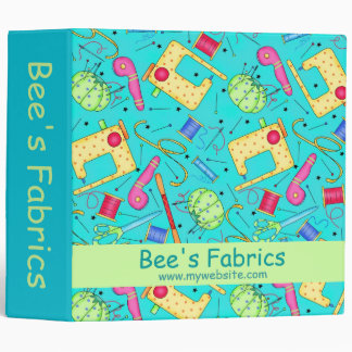 Turquoise Sewing Notions Fabric Business Album 3 Ring Binder
