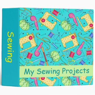 Turquoise Sewing Project Personlizable Album 3 Ring Binder