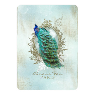Turquoise Shabby Peacock Card