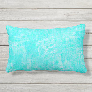 Turquoise Shade Variation Outdoor Lumbar Pillow