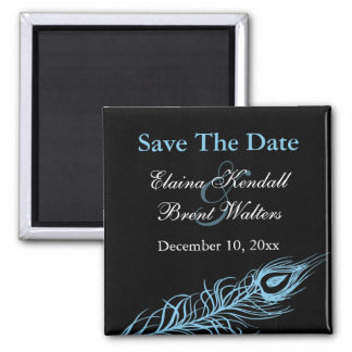 Turquoise Shake your Tail Feathers Save the Date Magnet