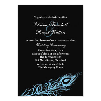 Turquoise Shake your Tail Feathers Wedding Invite