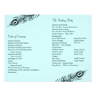 Turquoise Shake your Tail Feathers Wedding Program