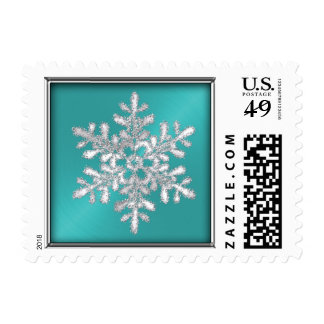 Turquoise Sheen with Silver Snowflake Postage Stamps