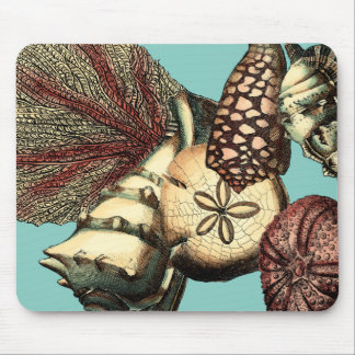 Turquoise Shell and Red Coral Collection Mouse Pad