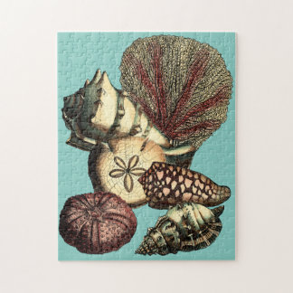 Turquoise Shell and Red Coral Collection Jigsaw Puzzles