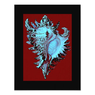 Turquoise Shell on Deep Red Card