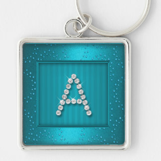 Turquoise Shimmer and Sparkle with Monogram Keychain