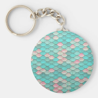 Turquoise Shiny Fish Scales Effect Pattern Keychain