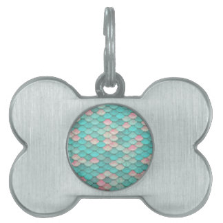 Turquoise Shiny Fish Scales Effect Pattern Pet Name Tags