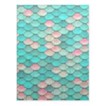 Turquoise Shiny Fish Scales Effect Pattern Postcard