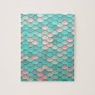 Turquoise Shiny Fish Scales Effect Pattern Jigsaw Puzzles