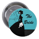 Turquoise Silhouette Bride Bridal Party  Button