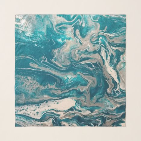 Turquoise Silver Abstract Chiffon Scarf