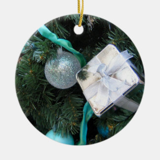 Turquoise silver Christmas Ornaments