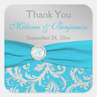 Turquoise, Silver Monogram Wedding Favor Sticker