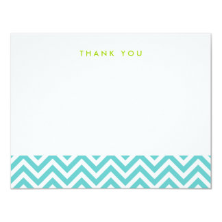 Turquoise Simple Chevron Thank You Note Cards