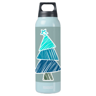 Turquoise Sketchy Christmas Tree Insulated Water Bottle