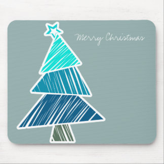 Turquoise Sketchy Christmas Tree Mousepad