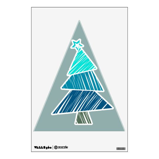 Turquoise Sketchy Christmas Tree Wall Decal