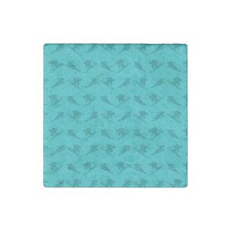 Turquoise ski pattern stone magnet