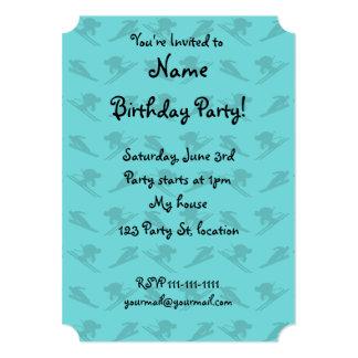 Turquoise ski pattern 5x7 paper invitation card