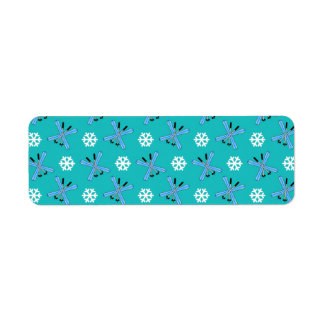 turquoise skis and snowflakes pattern custom return address labels