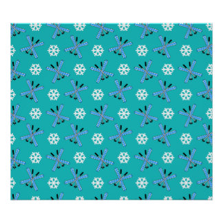turquoise skis and snowflakes pattern poster